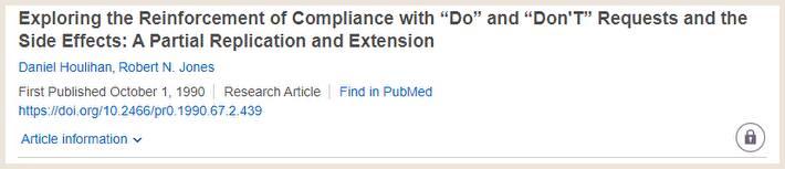 論文「Exploring the Reinforcement of Compliance」