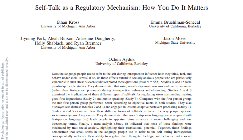 Self-Talk_as_a_Regulatory_Mechanismに関する論文